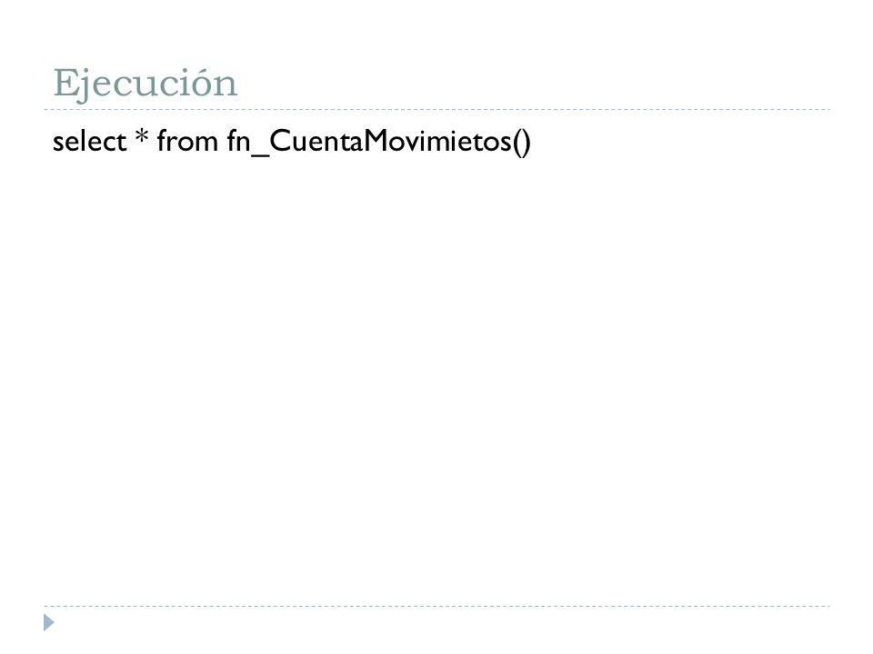 Ejecución select * from fn_CuentaMovimietos()