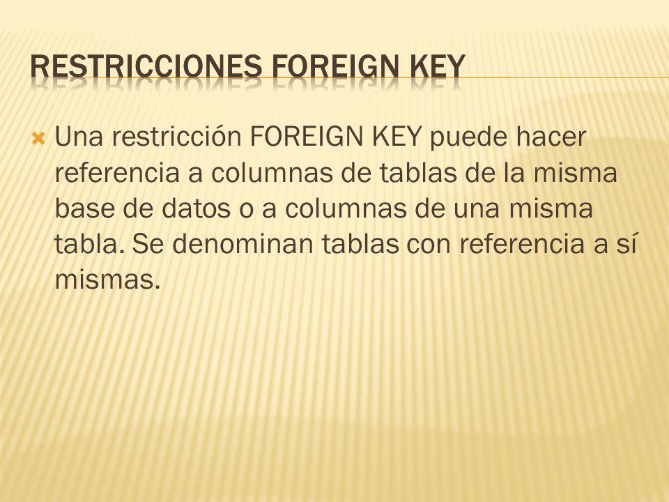 Una restricción FOREIGN KEY puede hacer referencia a columnas de tablas de la misma base de datos o a columnas de una misma tabla.