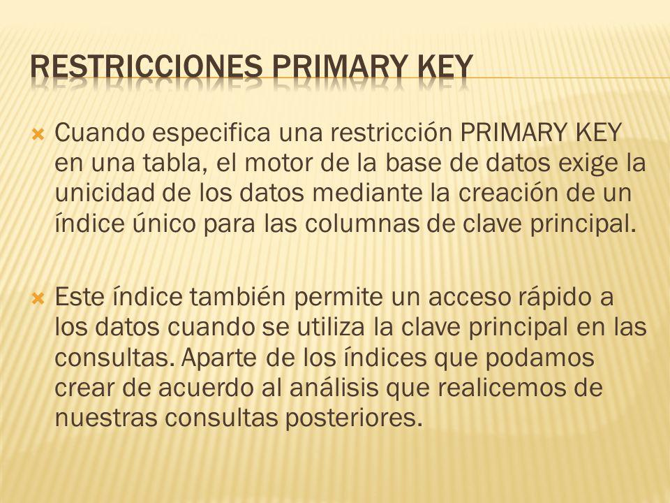 Si se define una restricción PRIMARY KEY para más de una columna, puede haber valores duplicados dentro de la misma columna, pero cada combinación de valores de todas las columnas de la definición de la restricción PRIMARY KEY debe ser única.