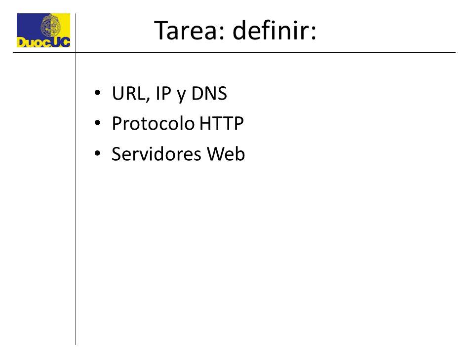 Tarea: definir: URL, IP y DNS Protocolo HTTP Servidores Web