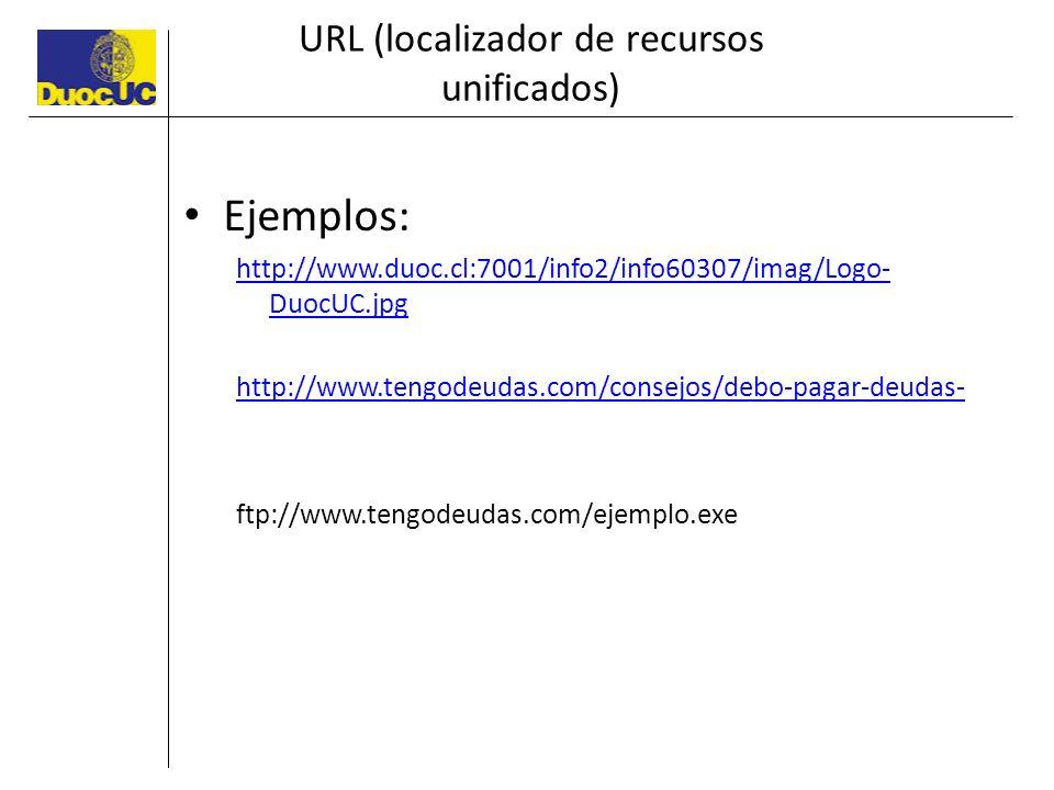 URL (localizador de recursos unificados) Ejemplos: http://www.duoc.cl:7001/info2/info60307/imag/Logo- DuocUC.jpg http://www.tengodeudas.com/consejos/d