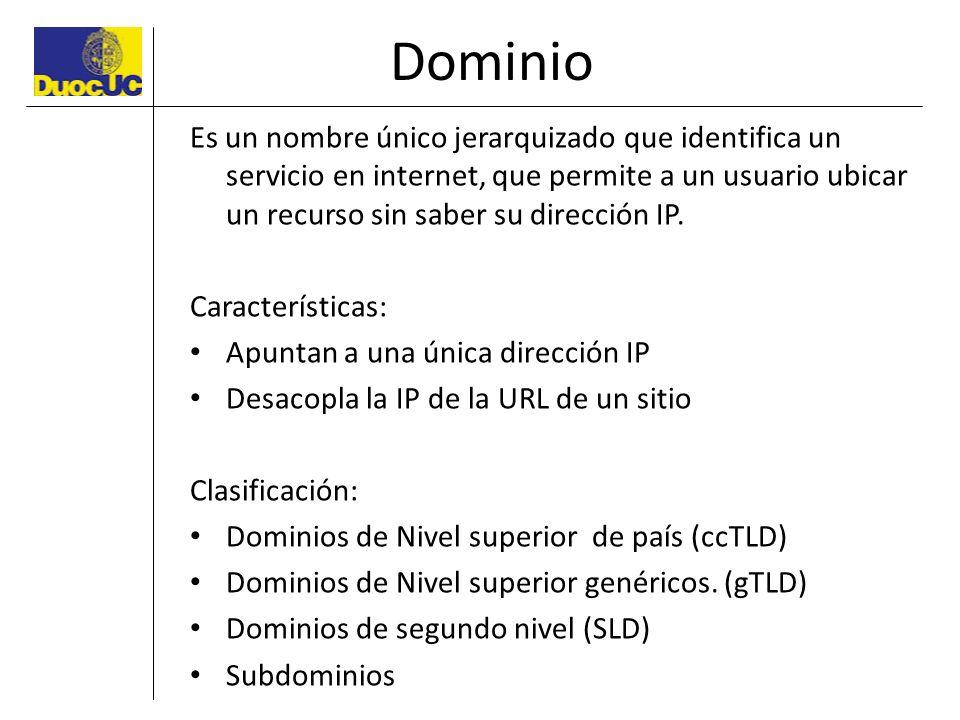 Dominio Es un nombre único jerarquizado que identifica un servicio en internet, que permite a un usuario ubicar un recurso sin saber su dirección IP.