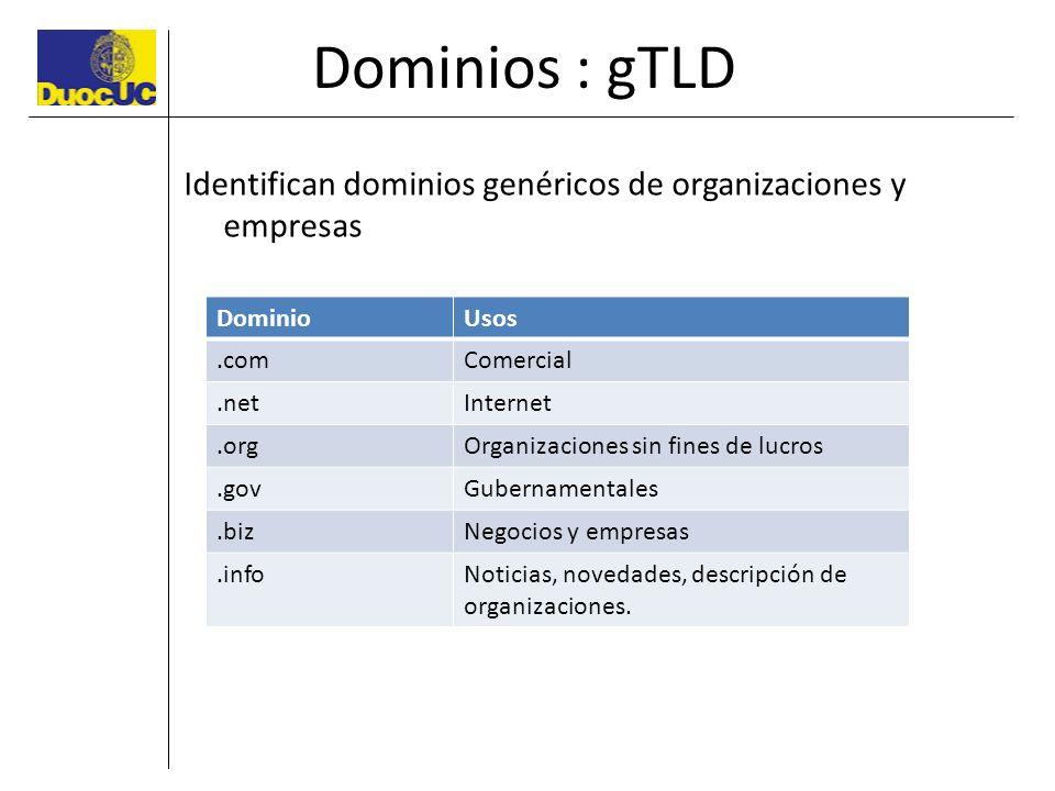 Dominios : gTLD Identifican dominios genéricos de organizaciones y empresas DominioUsos.comComercial.netInternet.orgOrganizaciones sin fines de lucros