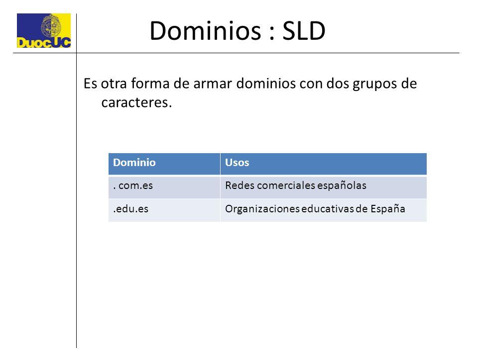 Dominios : SLD Es otra forma de armar dominios con dos grupos de caracteres. DominioUsos. com.esRedes comerciales españolas.edu.esOrganizaciones educa