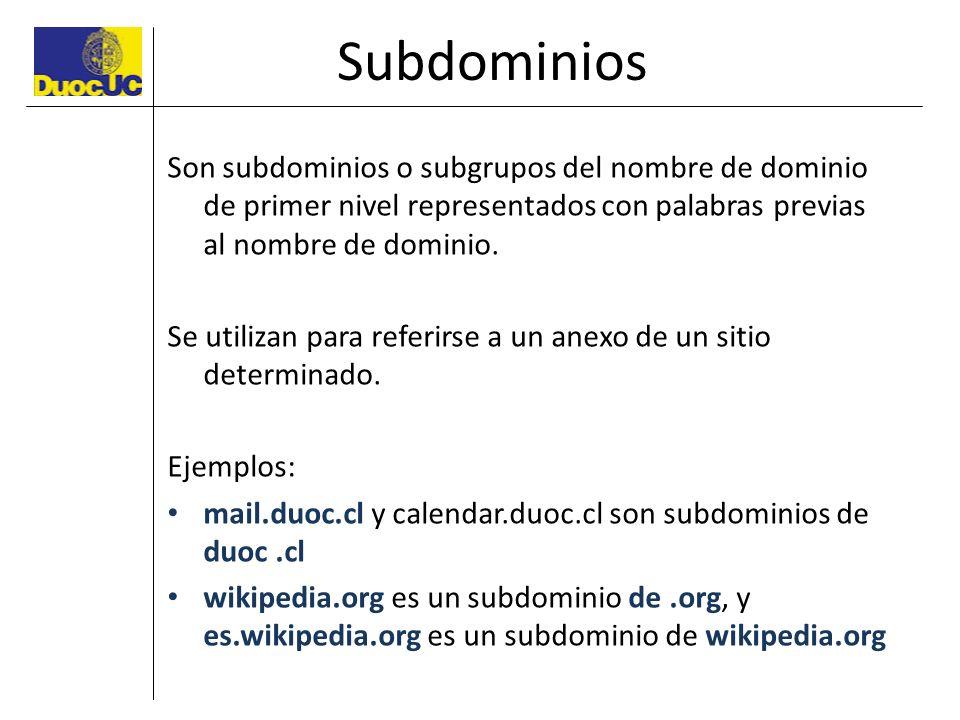 Subdominios Son subdominios o subgrupos del nombre de dominio de primer nivel representados con palabras previas al nombre de dominio. Se utilizan par
