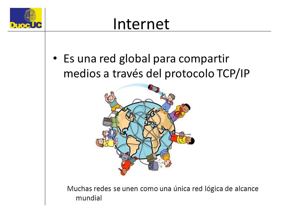 Internet Es una red global para compartir medios a través del protocolo TCP/IP Muchas redes se unen como una única red lógica de alcance mundial