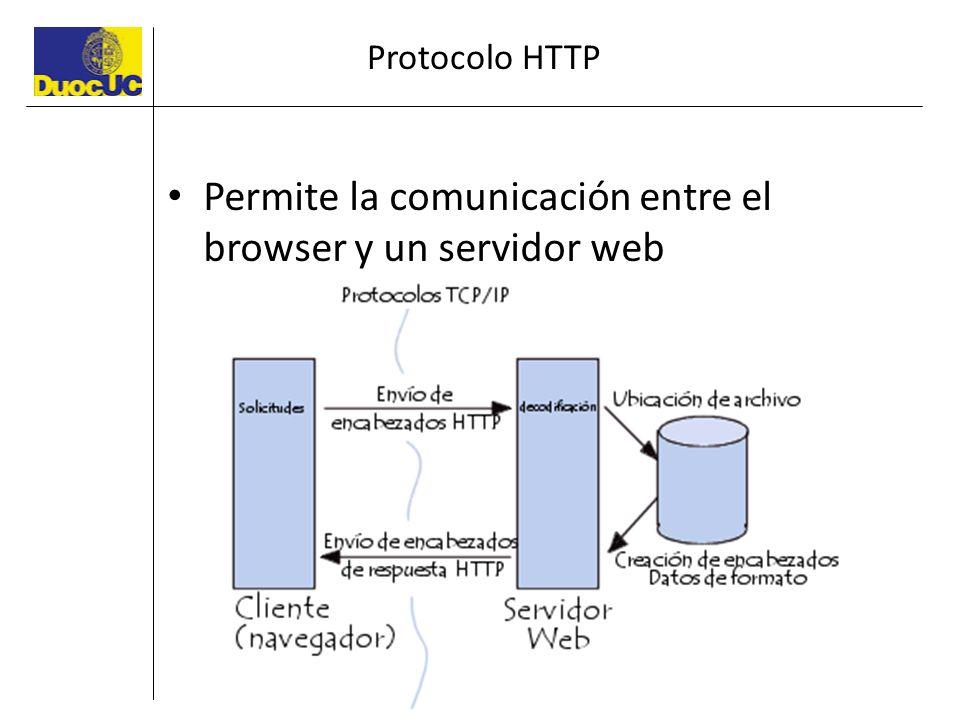 Protocolo HTTP Permite la comunicación entre el browser y un servidor web