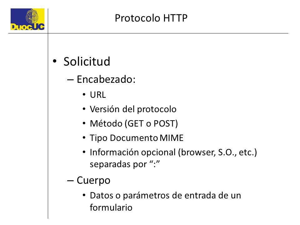 Protocolo HTTP Solicitud – Encabezado: URL Versión del protocolo Método (GET o POST) Tipo Documento MIME Información opcional (browser, S.O., etc.) se