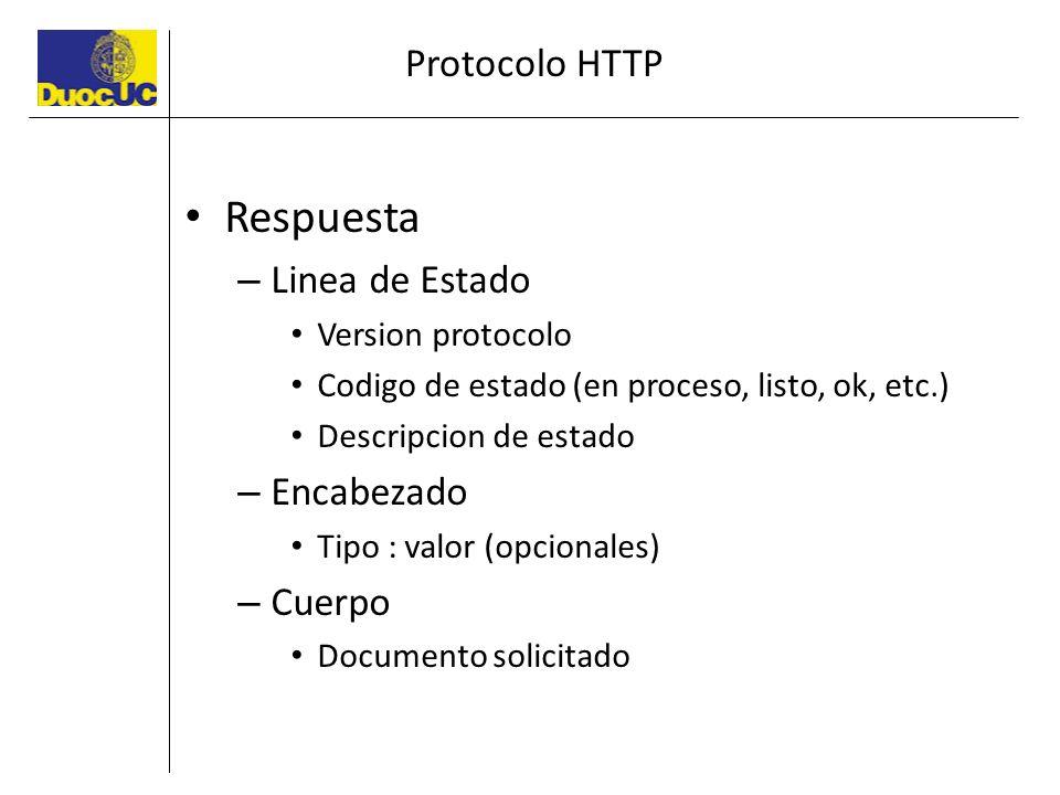 Protocolo HTTP Respuesta – Linea de Estado Version protocolo Codigo de estado (en proceso, listo, ok, etc.) Descripcion de estado – Encabezado Tipo :