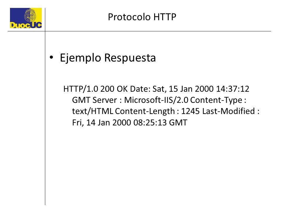 Protocolo HTTP Ejemplo Respuesta HTTP/1.0 200 OK Date: Sat, 15 Jan 2000 14:37:12 GMT Server : Microsoft-IIS/2.0 Content-Type : text/HTML Content-Lengt