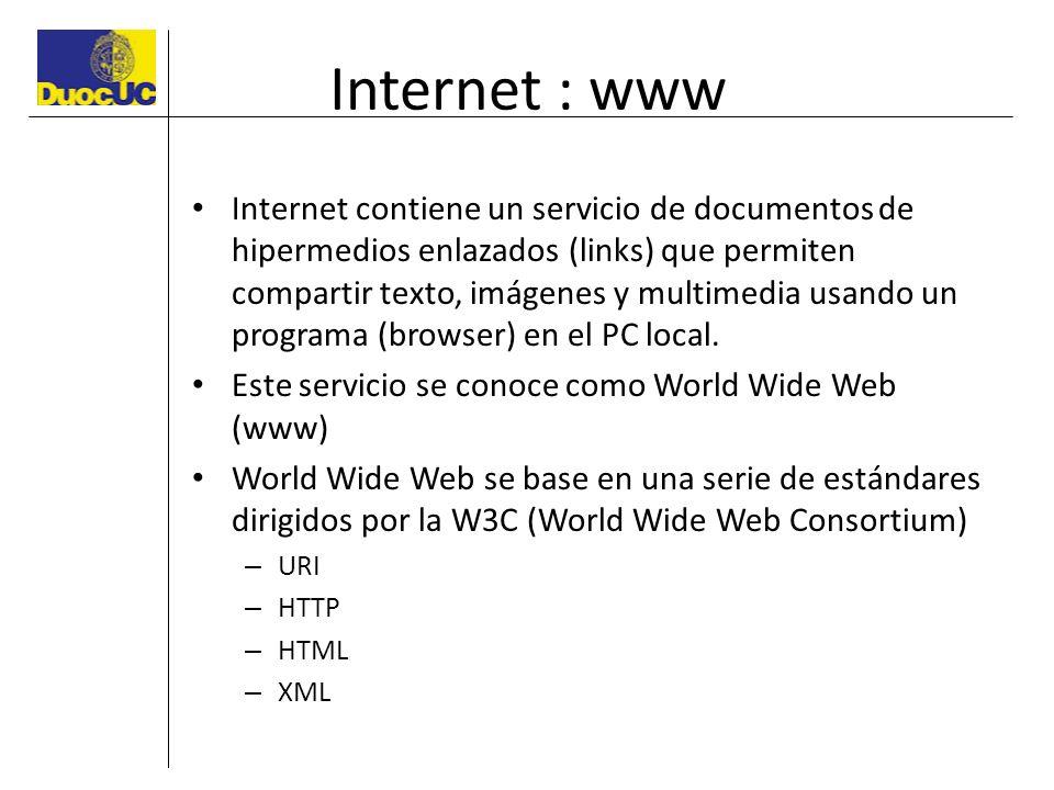 Internet : www Internet contiene un servicio de documentos de hipermedios enlazados (links) que permiten compartir texto, imágenes y multimedia usando