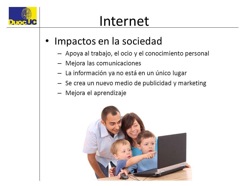 Internet Impactos en la sociedad – Apoya al trabajo, el ocio y el conocimiento personal – Mejora las comunicaciones – La información ya no está en un