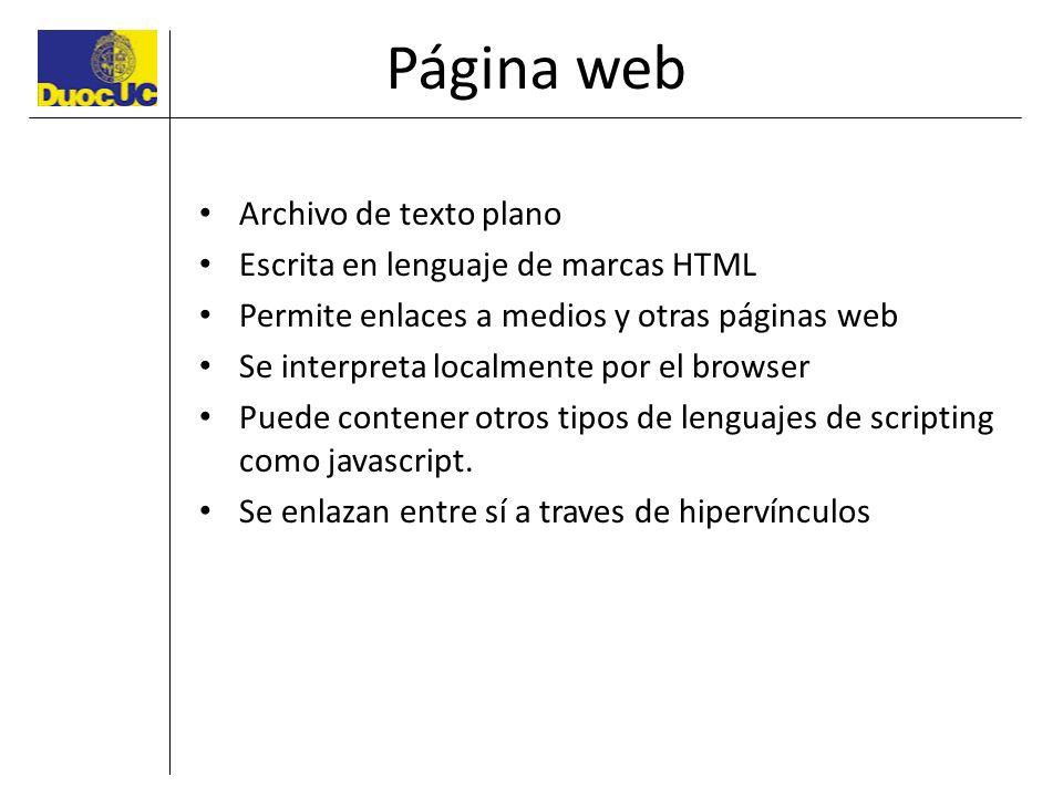 Página web Archivo de texto plano Escrita en lenguaje de marcas HTML Permite enlaces a medios y otras páginas web Se interpreta localmente por el brow