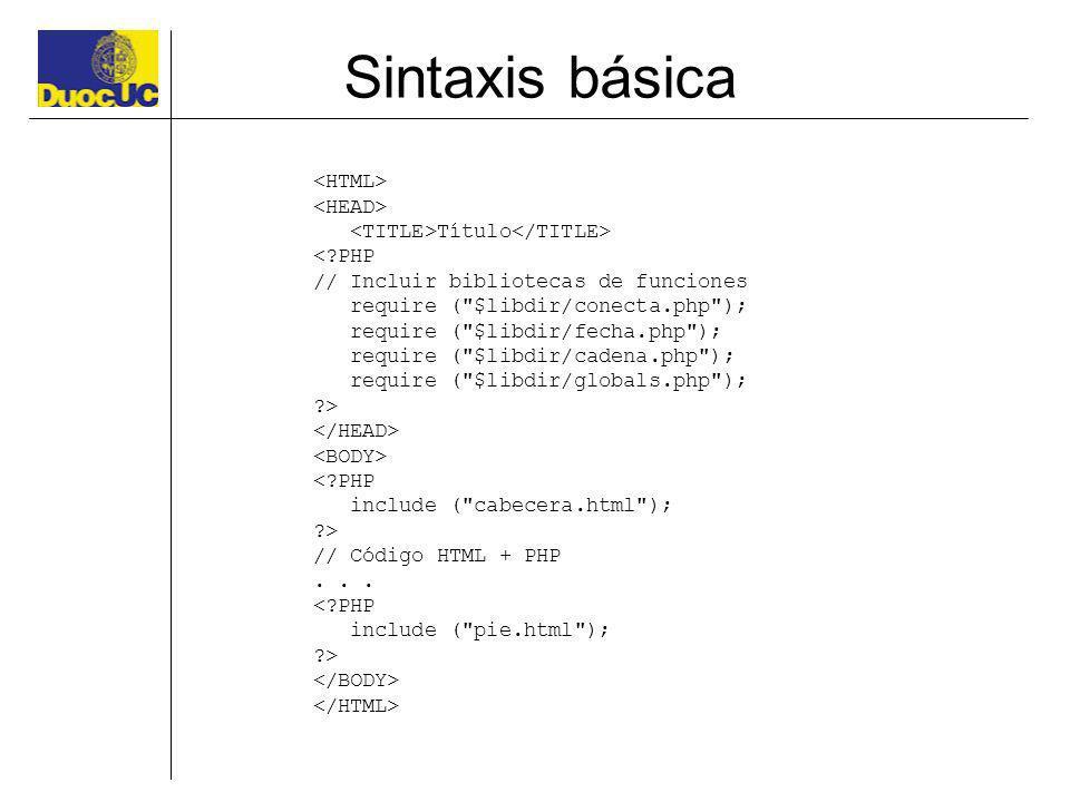 Sintaxis básica Título <?PHP // Incluir bibliotecas de funciones require (