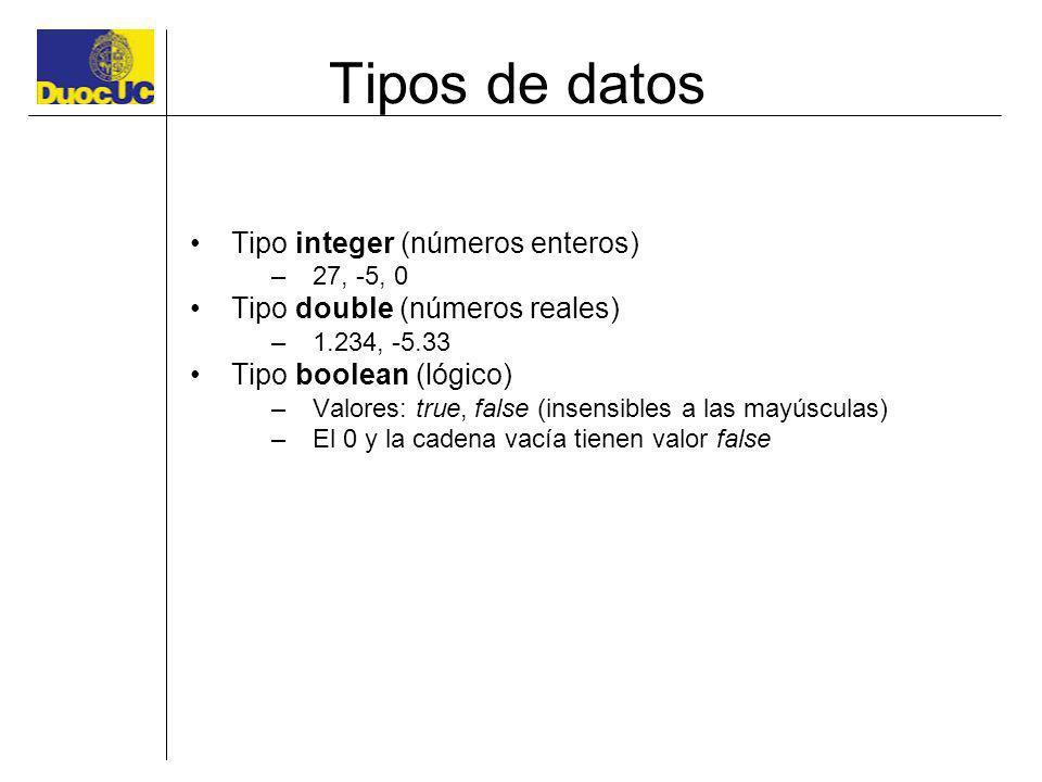Tipos de datos Tipo integer (números enteros) –27, -5, 0 Tipo double (números reales) –1.234, -5.33 Tipo boolean (lógico) –Valores: true, false (insen