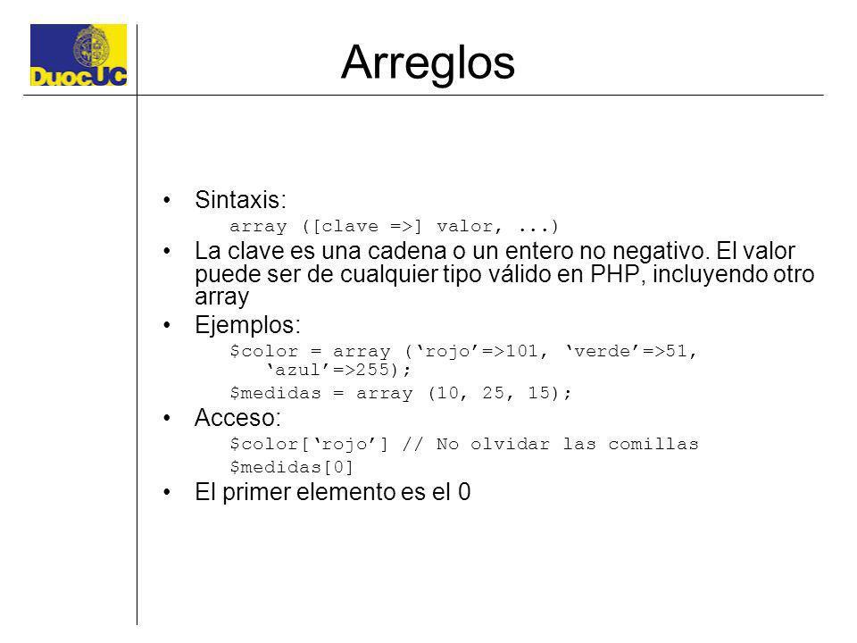 Arreglos Sintaxis: array ([clave =>] valor,...) La clave es una cadena o un entero no negativo. El valor puede ser de cualquier tipo válido en PHP, in