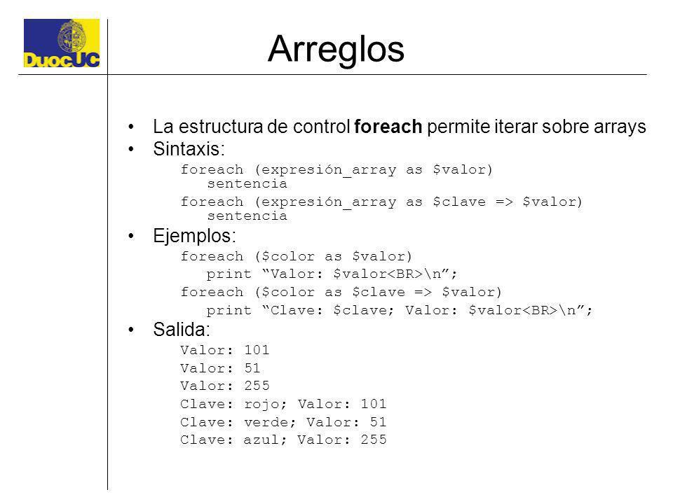 Arreglos La estructura de control foreach permite iterar sobre arrays Sintaxis: foreach (expresión_array as $valor) sentencia foreach (expresión_array