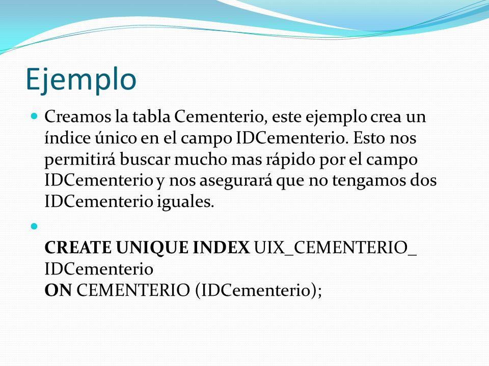Ejemplo Creamos la tabla Cementerio, este ejemplo crea un índice único en el campo IDCementerio. Esto nos permitirá buscar mucho mas rápido por el cam