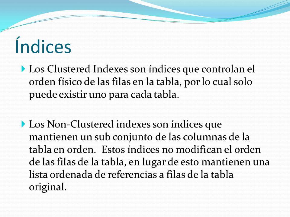 Los Clustered Indexes son índices que controlan el orden físico de las filas en la tabla, por lo cual solo puede existir uno para cada tabla. Los Non-