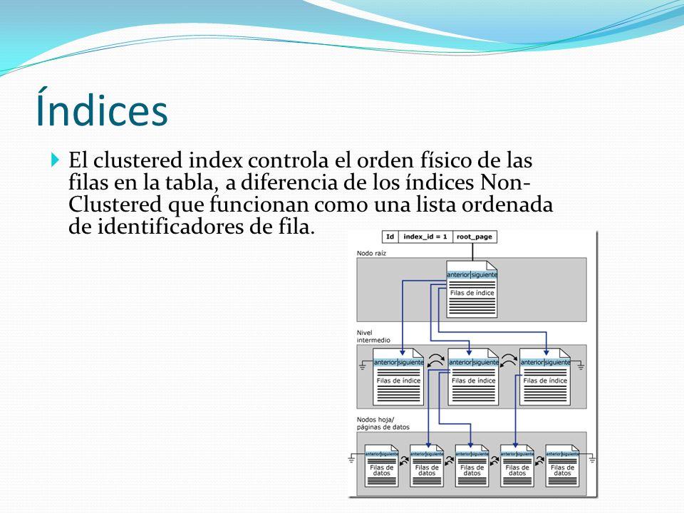 Índices El clustered index controla el orden físico de las filas en la tabla, a diferencia de los índices Non- Clustered que funcionan como una lista