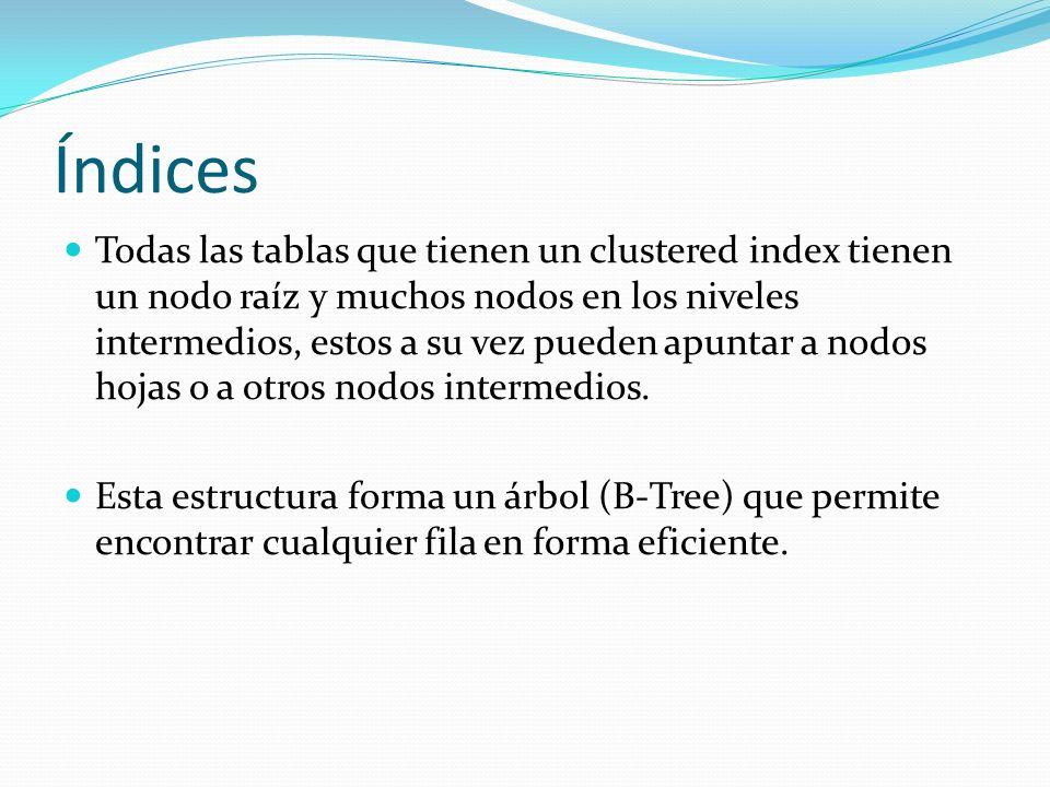 Índices Todas las tablas que tienen un clustered index tienen un nodo raíz y muchos nodos en los niveles intermedios, estos a su vez pueden apuntar a