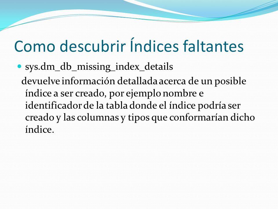 Como descubrir Índices faltantes sys.dm_db_missing_index_details devuelve información detallada acerca de un posible índice a ser creado, por ejemplo