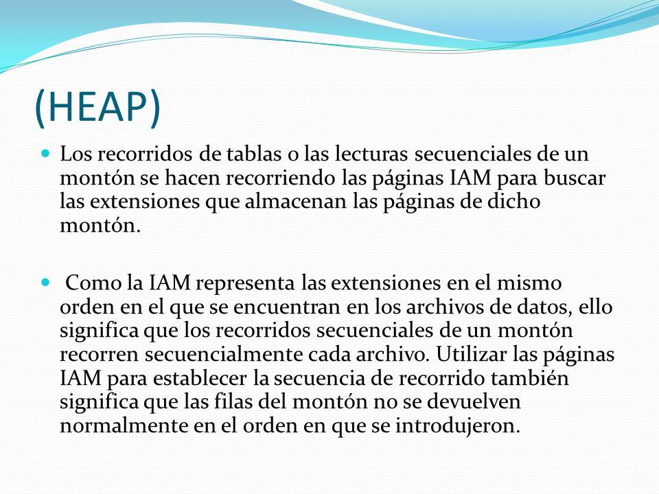 (HEAP) Los recorridos de tablas o las lecturas secuenciales de un montón se hacen recorriendo las páginas IAM para buscar las extensiones que almacena