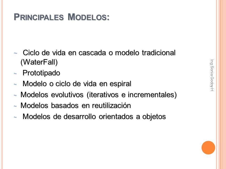 P RINCIPALES M ODELOS : ~ Ciclo de vida en cascada o modelo tradicional (WaterFall) ~ Prototipado ~ Modelo o ciclo de vida en espiral ~ Modelos evolut