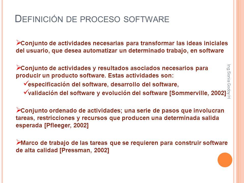 D EFINICIÓN DE PROCESO SOFTWARE Conjunto de actividades necesarias para transformar las ideas iniciales del usuario, que desea automatizar un determin