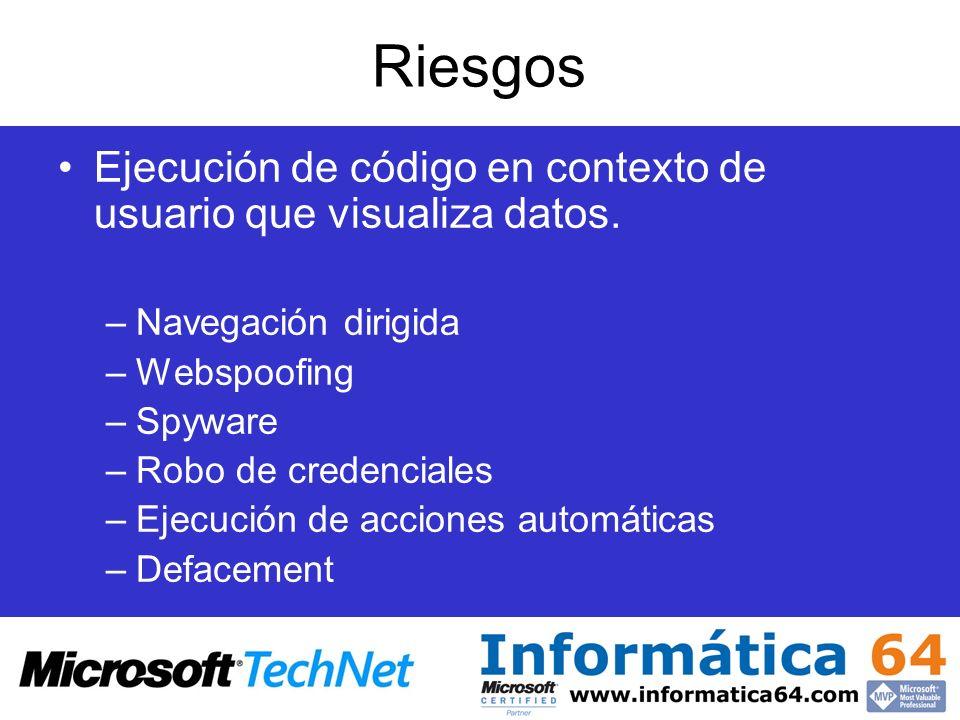 Riesgos Ejecución de código en contexto de usuario que visualiza datos. –Navegación dirigida –Webspoofing –Spyware –Robo de credenciales –Ejecución de