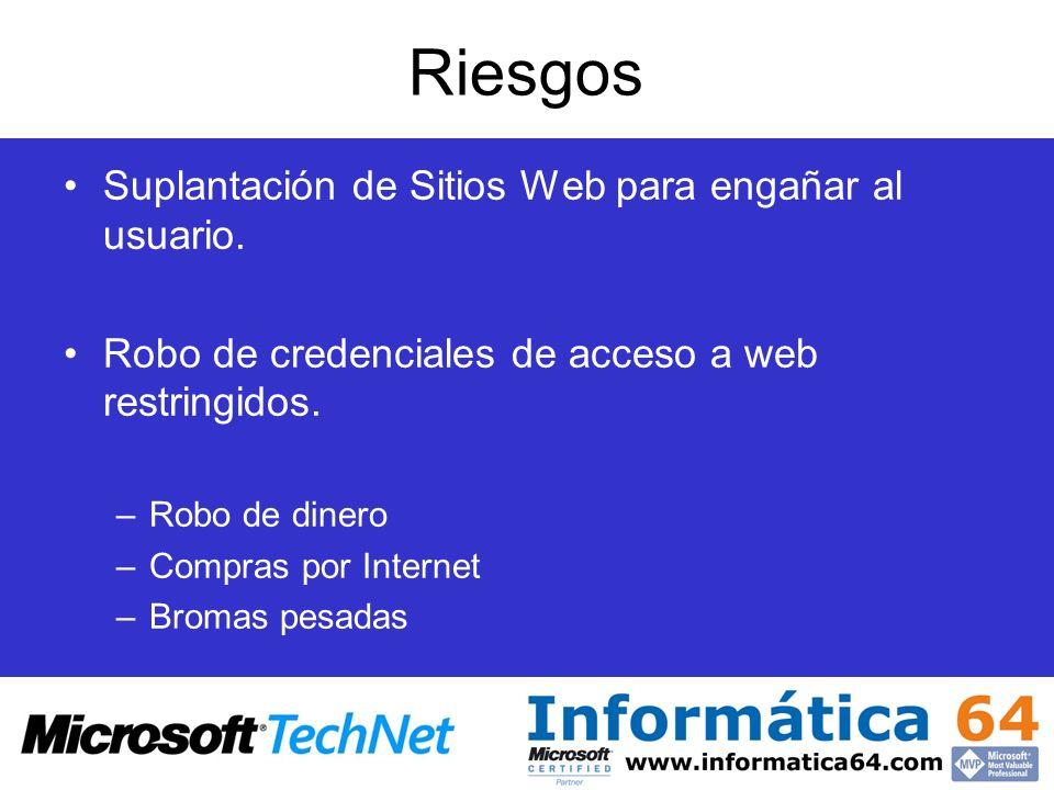 Riesgos Suplantación de Sitios Web para engañar al usuario. Robo de credenciales de acceso a web restringidos. –Robo de dinero –Compras por Internet –