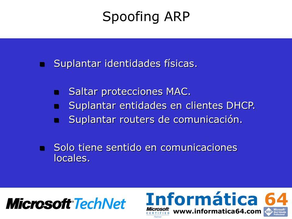 Spoofing ARP Suplantar identidades físicas. Suplantar identidades físicas. Saltar protecciones MAC. Saltar protecciones MAC. Suplantar entidades en cl