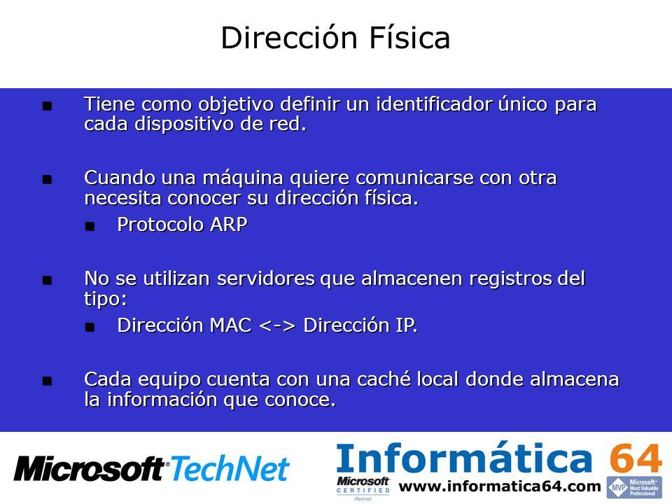 Dirección Física Tiene como objetivo definir un identificador único para cada dispositivo de red. Tiene como objetivo definir un identificador único p