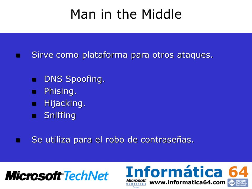 Man in the Middle Sirve como plataforma para otros ataques. Sirve como plataforma para otros ataques. DNS Spoofing. DNS Spoofing. Phising. Phising. Hi
