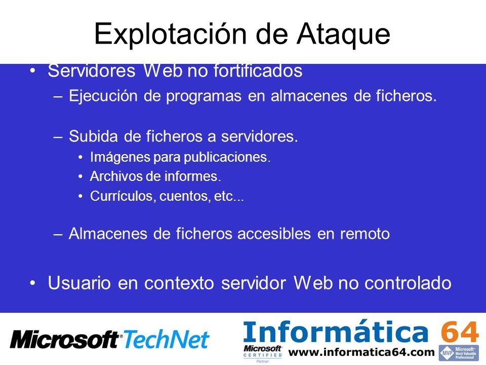 Explotación de Ataque Servidores Web no fortificados –Ejecución de programas en almacenes de ficheros. –Subida de ficheros a servidores. Imágenes para