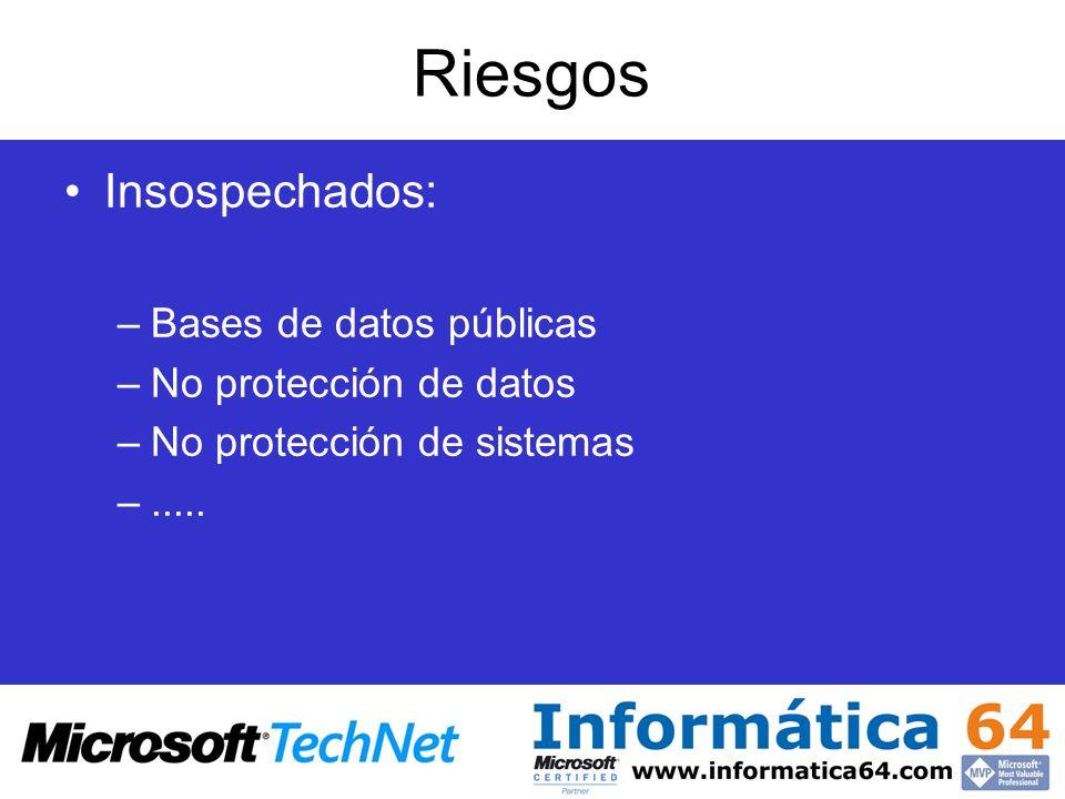 Riesgos Insospechados: –Bases de datos públicas –No protección de datos –No protección de sistemas –.....