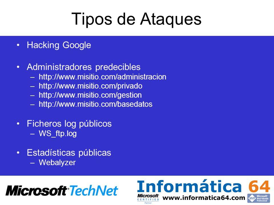 Tipos de Ataques Hacking Google Administradores predecibles –http://www.misitio.com/administracion –http://www.misitio.com/privado –http://www.misitio