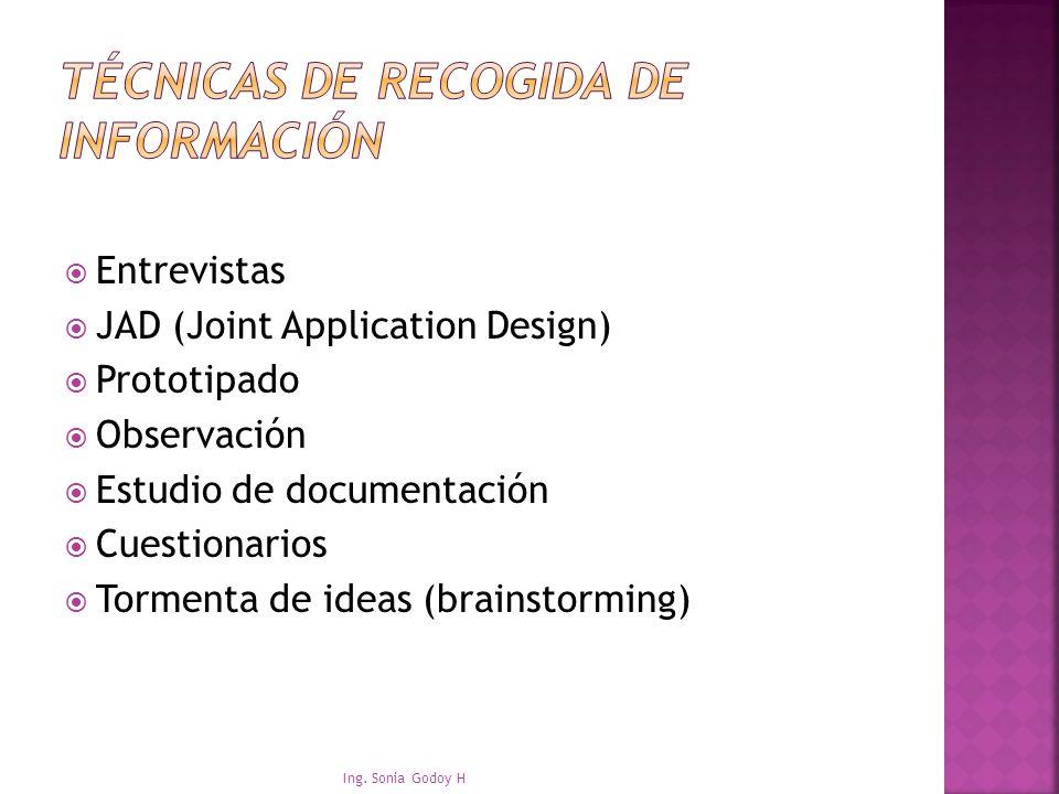 Entrevistas JAD (Joint Application Design) Prototipado Observación Estudio de documentación Cuestionarios Tormenta de ideas (brainstorming) Ing. Sonia
