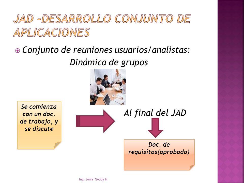 Conjunto de reuniones usuarios/analistas: Dinámica de grupos Al final del JAD Ing. Sonia Godoy H Se comienza con un doc. de trabajo, y se discute Doc.
