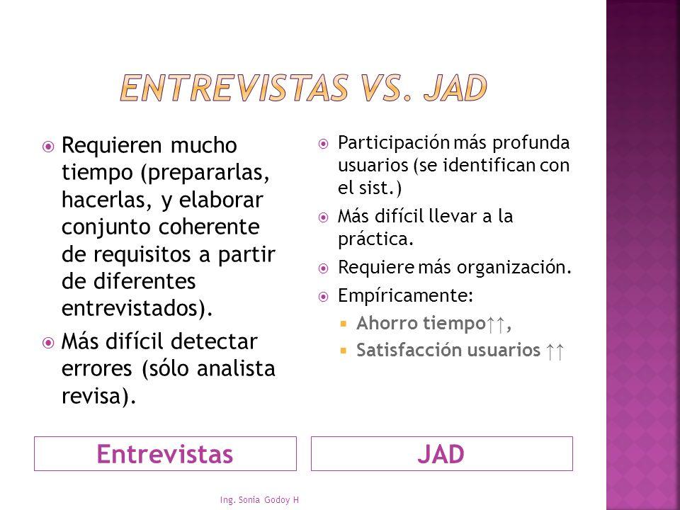 EntrevistasJAD Requieren mucho tiempo (prepararlas, hacerlas, y elaborar conjunto coherente de requisitos a partir de diferentes entrevistados). Más d