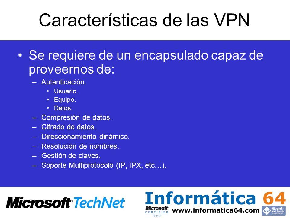 Características de las VPN Se requiere de un encapsulado capaz de proveernos de: –Autenticación. Usuario. Equipo. Datos. –Compresión de datos. –Cifrad