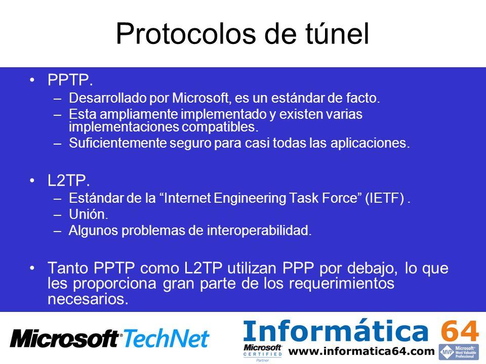 Protocolos de túnel PPTP. –Desarrollado por Microsoft, es un estándar de facto. –Esta ampliamente implementado y existen varias implementaciones compa