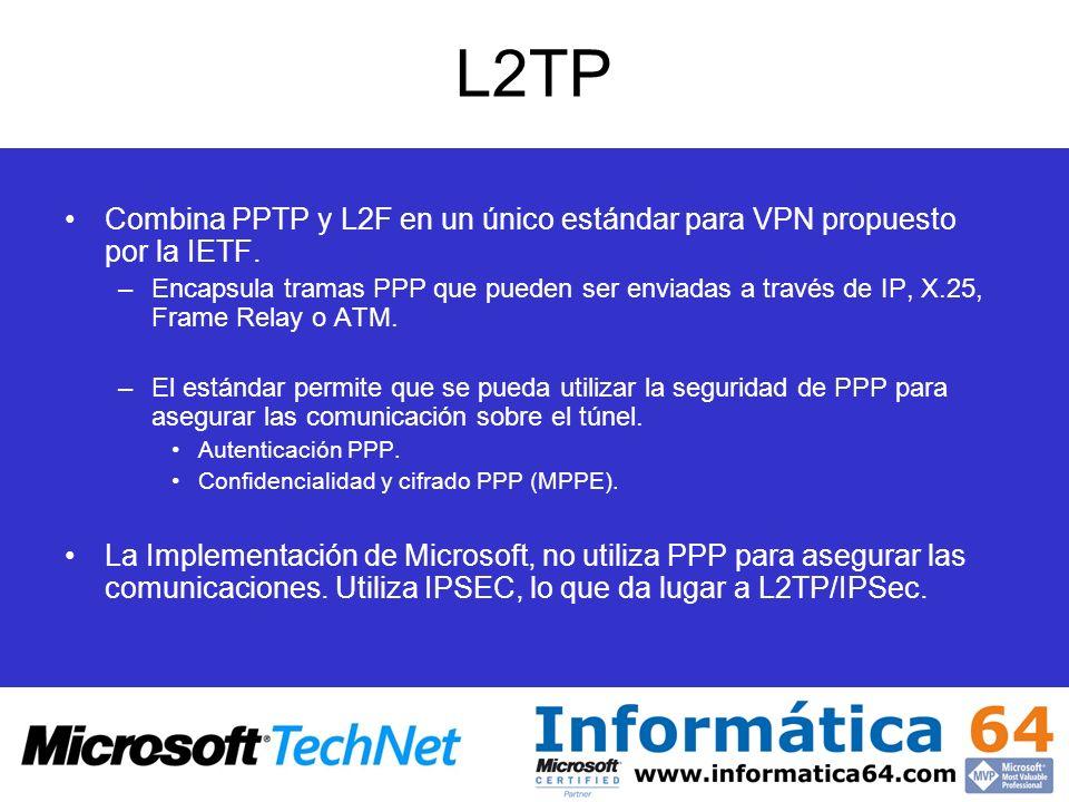 L2TP Combina PPTP y L2F en un único estándar para VPN propuesto por la IETF. –Encapsula tramas PPP que pueden ser enviadas a través de IP, X.25, Frame