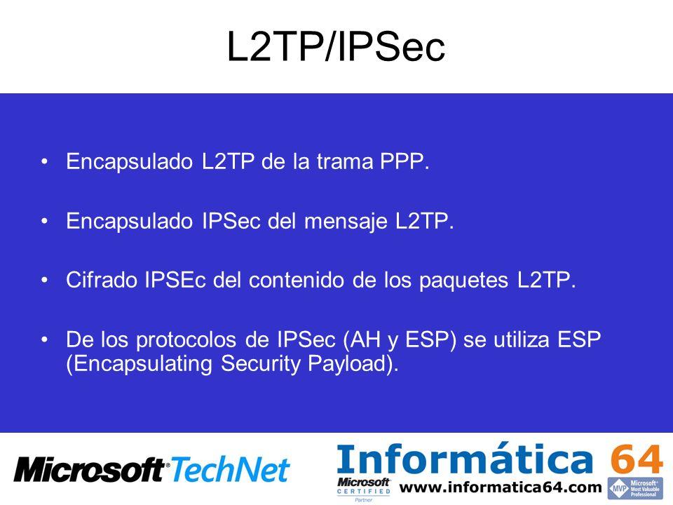 L2TP/IPSec Encapsulado L2TP de la trama PPP. Encapsulado IPSec del mensaje L2TP. Cifrado IPSEc del contenido de los paquetes L2TP. De los protocolos d