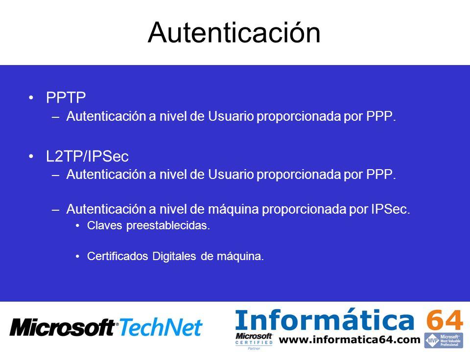 Autenticación PPTP –Autenticación a nivel de Usuario proporcionada por PPP. L2TP/IPSec –Autenticación a nivel de Usuario proporcionada por PPP. –Auten