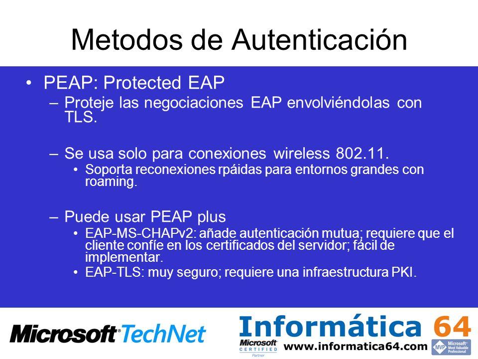 Metodos de Autenticación PEAP: Protected EAP –Proteje las negociaciones EAP envolviéndolas con TLS. –Se usa solo para conexiones wireless 802.11. Sopo