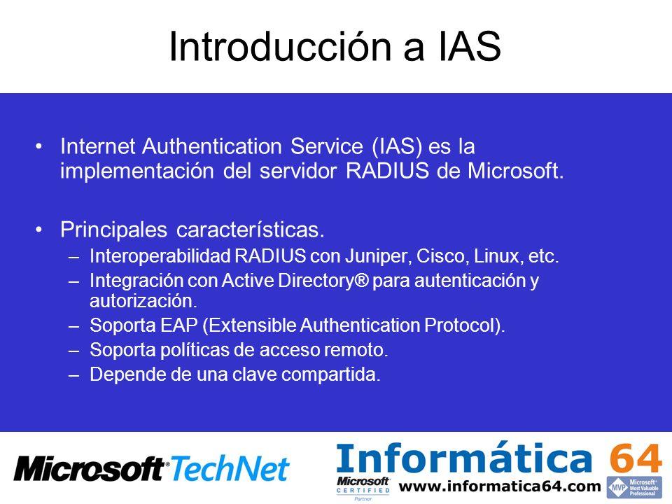 Introducción a IAS Internet Authentication Service (IAS) es la implementación del servidor RADIUS de Microsoft. Principales características. –Interope