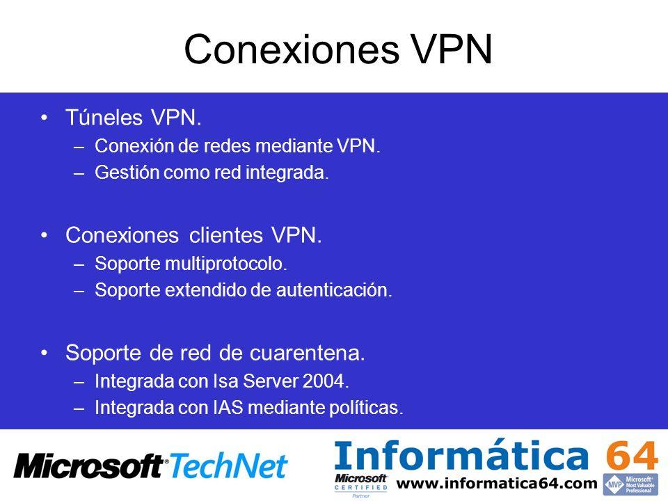 Conexiones VPN Túneles VPN. –Conexión de redes mediante VPN. –Gestión como red integrada. Conexiones clientes VPN. –Soporte multiprotocolo. –Soporte e