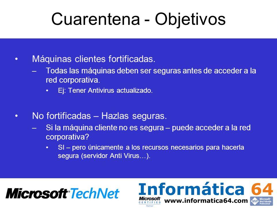 Máquinas clientes fortificadas. –Todas las máquinas deben ser seguras antes de acceder a la red corporativa. Ej: Tener Antivirus actualizado. No forti