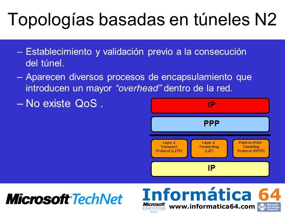 Topologías basadas en túneles N3 VPN de Nivel 3.IPSec Túneles GRE y sobre todo IPSec.